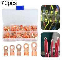 70pcs Set Copper Terminals Wire Battery Welding Cable Lug Ring Crimp Connectors