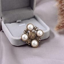 Spilla Dorato Arte Deco Filigrana False Perle Bianco Trifoglio Cuore Retrò XZ12