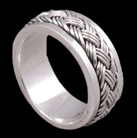 HANDMADE BRAIDED WOVEN ARTISAN SNAKE 925 STERLING SOLID SILVER MENS SPIN RING C1