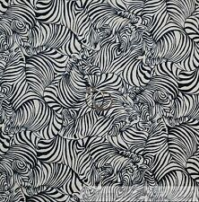 BonEful Fabric Cotton Quilt White Black B&W Zebra Stripe Animal Skin Print SCRAP