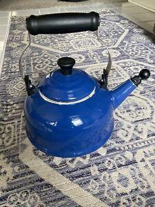 Le Creuset Bright Blue Enamel-On-Steel Whistling Ball Tea Kettle 1.7 Quart