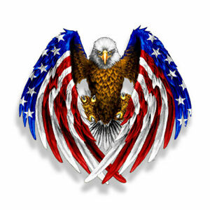 17*15cm Bald Eagle USA American Flag Sticker Car Laptop Window Decal Bumper