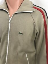 Vintage 70s 80s Izod Lacoste Zip Up Tan Sweatshirt Track Jacket M Rare Amazing