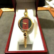 *GUCCI* 2047-L 18K YGP BANGLE CABLE 'G/R/G' DIAL LADIES SWISS WATCH *MINT*!!