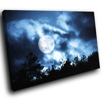 AB120 Blue Night Sky Moon Modern Abstract Canvas Wall Art Large Picture Prints