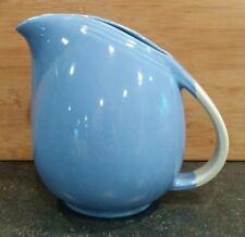"""Vintage Unmarked Hall Kitchenware 8"""" Blue w/ White Handle Art Deco Jug Pitcher"""