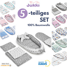 5tlg Baby Nestchen 2-seitig Kokon + Matratze 2xKissen Decke 100% Baumwolle ?SET