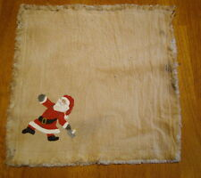 """SANTA with CANDLESTICK Handpainted Candle Mat 10"""" square, Christmas Folk Art"""