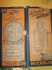 Carte michelin 68 niort chateauroux  1947 surchargé 22,50 01 03 1947