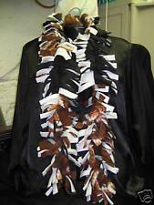 Scarf Fleece Boa Handmade football pattern Black White