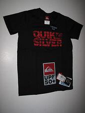 Quiksilver Boys Sz 4 Short Sleeve Rash Guard Swim Sun Shirt Loose Fit Black Red