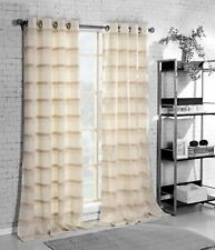 SIngle(1) Grommet Window Curtain Panel:Natural Linen Blend, Beige, Ivory Stripes