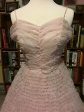 Vintage 1950s BUBBLEGUM PINK Tiered Ruffled DEBUTANTE DRESS GOWN 54 LAYERS XXS
