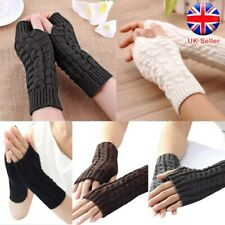 Women Ladies Soft Mittens Arm Warmer Protected Fingerless Knitted Long Gloves
