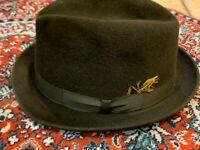 VINTAGE RESISTOL BROWN FELT WOOL FEDORA DERBY HAT SELF-CONFORM 7 1/8 ST. ANGELOS