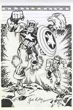 Captain America Jack Kirby Homage Original Artwork Art SIGNED Marvel Comic Lot