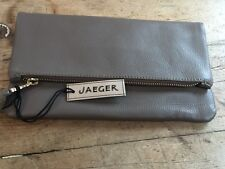NEW WITH TAGS  'JAEGER' FULL GRAIN LEATHER BEIGE CLUTCH WITH MAGNETIC CLASPS