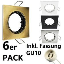 LED Einbaustrahler Rahmen GU10 6 Pack Set 230V Eckig Einbaurahmen Schwenkbar EDO