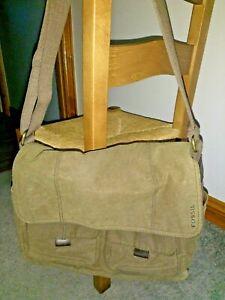 Mens Fossil olive canvas messenger bag