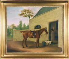 Chestnut Hunter w/ Terrier & Stables (J. Hardman, Oil / Canvas) Sign & Date 1805