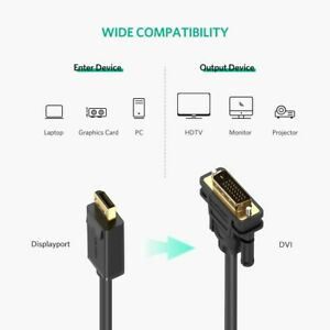 Displayport Display Port DP to DVI-D GOLD PLATED 1080p HD PC to Video Cable - 2M