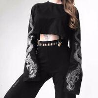 Damen Langarm T-Shirt Oberteil Schwarz Punk Gotisch Drachen Beschnitten Top