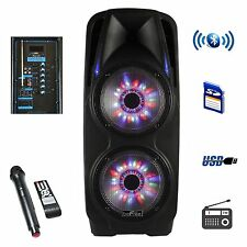 """4000 watts 10"""" inch DJ Woofer Portable Bluetooth Powered PA Speaker Party mic"""
