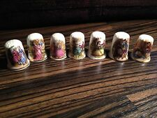 Thimbles - Set of 7, Olde Worlde Figures - Bone China - Made in Britain (b23)