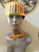 2Pc Kente African Print Kufi Hat w/BowTie. Made in India Accent Of AFRICA.