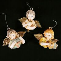 Vintage Cherub Angel Christmas Ornaments Italy Made Musical Instruments Lot Of 3