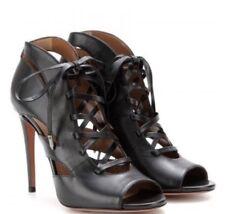 AQUAZZURA Jupiter Sandale Schuhe Pumps Größe 37,5 schwarz Leder NEU mit Karton!