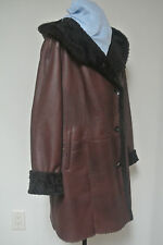 HIDE SOCIETY HiSO $2000 Sheepskin Hooded Shearling Coat Real Fur brown Lamb sz L