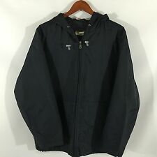 Eddie Bauer 100% Nylon Black Hooded Jacket 2XL XXL Width 27 Length 28