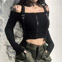 Womens Sexy Off The Shoulder Slim Fit Long Sleeve Tops Gothic Belt Harness Tops