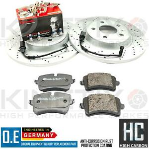 FOR AUDI A4 Allroad 3.0 TDI B8 REAR DRILLED BRAKE DISCS BREMBO PADS & WIRES 300m