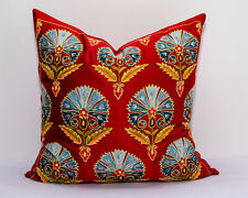 Red Silk Embroidery Uzbek Suzani pillow cover Suzani cushion top best pillow