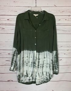Entro Boutique Women's L Large Olive Green Tie Dye Button Long Sleeve Tunic Top