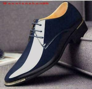 Oversize Mens Pointy Toe Business Shiny Lace up Dress OL Casual Wedding Shoes