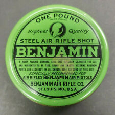 VINTAGE 1960's BENJAMIN AIR RIFLE SHOT TIN 1 LB ST LOUIS MISSOURI NICE RARE