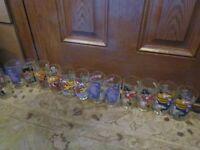 Set of 13 Glasses McDonalds Glasses 1977 Grimace Hamburgler