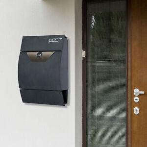 HOMCOM Wall-mounted Mail Box Post Letter Lockable Newspaper Slot Steel Grey