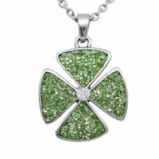 Clover Necklace Four Leaf Pendant w Swarovski Crystals & Cubic Zirconia Controse