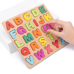 Wooden Building Toy Alphabet Blocks ABC&123 Educational Numbers Letters Spelling