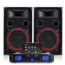 Pair of Max 12 Inch Speakers + Skytec SPL-1000 Amplifier + Mixer 700W Essex