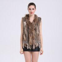 Promotion Real Knitted Rabbit Fur With Raccoon Fur Collar Vest Gilet Fur Coat V1