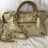Balenciaga The City 115748 Granny Light Green Leather Hand Tote Bag Used