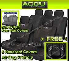 urbanx Negro Aspecto De Cuero Airbag BUENO Coche 50-50 60-40 ABIERTO Asiento