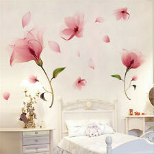 Pink Vinyl Mural Flower Wall Sticker Removable Decals Home Art Living Room Decor