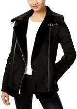 Laundry By Design Faux-shearling Moto Jacket Coat Black Xs