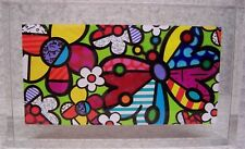 Romero Britto Glass Block Butterfly and Flowers NEW with gift box